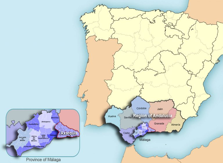 Spain map including Andalucia